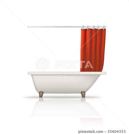 bathtube red curtain 35604353