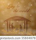 Nativity scene with Mary, Joseph and baby Jesus 35604676