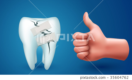 tooth on blue with hand 35604762