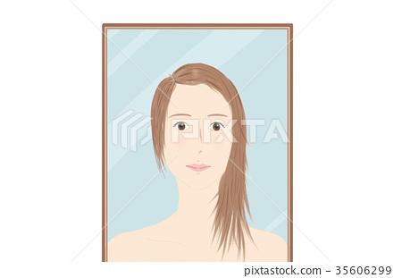 Mirror looking woman 35606299