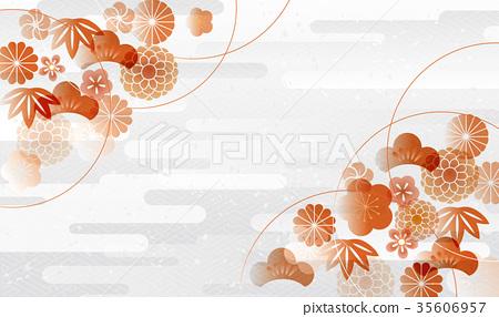 日本圖案蒼白絲綢銀 35606957