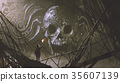 the stone bas relief of the skull in the cave 35607139