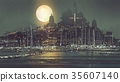 scenery of port city with moon light 35607140