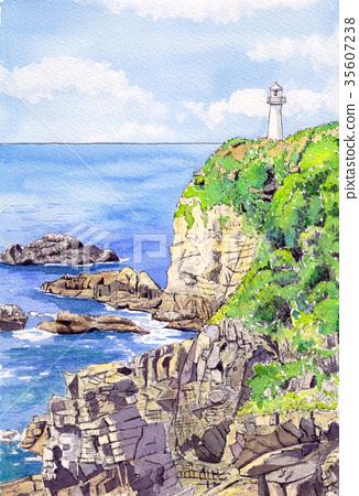Watercolor picture Ashizuri Cape 35607238