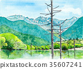 Watercolor picture Kamikochi 35607241