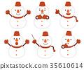 snowman, snowmen, facial expression 35610614