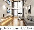 sketch design of living room ,3d rendering 35611542