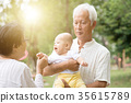 Grandparents playing with grandchild outdoors. 35615789