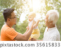 Asian grandfather, father and grandchild. 35615833