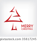 red abstract  merry christmas tree arrow paper cut 35617245