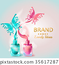 Cosmetic background with butterflies from nail 35617287