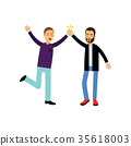 Happy male best friends give five to each other 35618003
