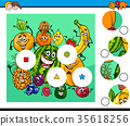 match pieces puzzle with fruit characters 35618256