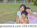 초등학생, 벤치, 공원 35619636