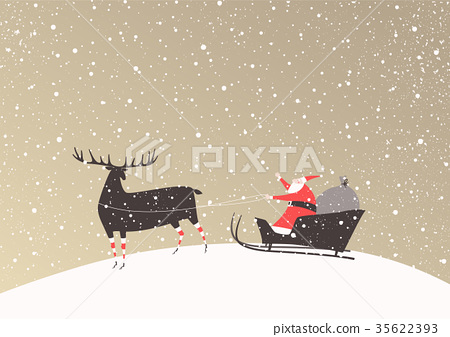 Santa Claus on a sleigh and his reindeer 35622393
