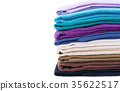Stack of multicolored linen fabric 35622517