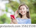 woman listen music 35623598
