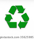 recycle logo on white background. 3d rendering 35625985