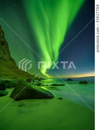 Beach in the Lofoten islands in Norway with 35627768