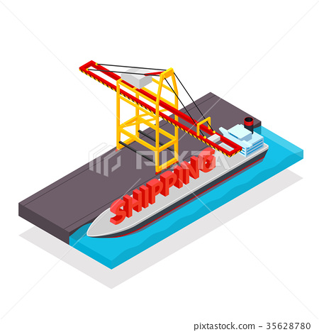 Vector isometric cargo container ship and crane 35628780
