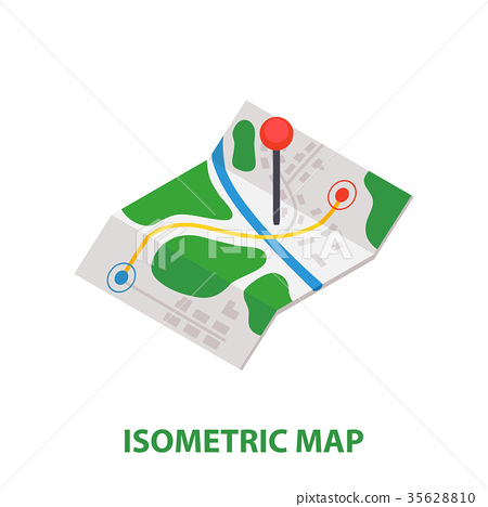 Isometric Delivery Map with Pin icon. 35628810