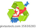 Recycling in North Korea concept, 3D rendering 35630283