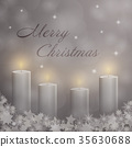Advent with 4 candles and Christmas landscape 35630688