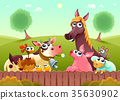 Funny farm animals smiling near the fence 35630902