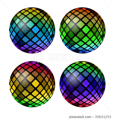 Colored Mosaic Ball Set 35631253