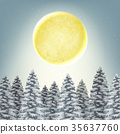 full moon with top of pine forest and snow winter 35637760