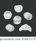 set of bakery isolated sticker , hand draw vector. 35643176