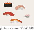Sushi hand drawn illustration. 35643209