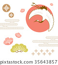 Japanese background vector. crane bird icon 35643857