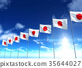Flag of Japan under blue sky, 3D rendering 35644027