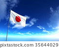 Flag of Japan under blue sky, 3D rendering 35644029