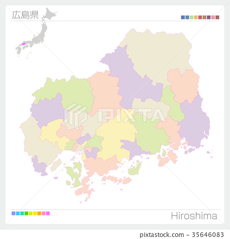 Map of Hiroshima Prefecture (city / city / color coding ...