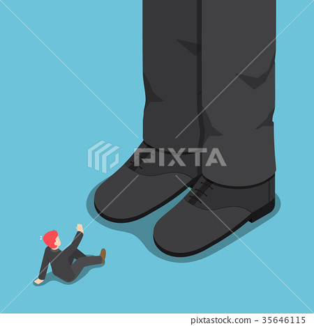 Tiny businessman in front of giant leg. 35646115