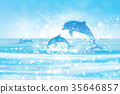 Vector  blue sea  and jumping dolphins. 35646857