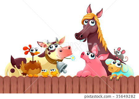 Funny farm animals smiling near the fence 35649282