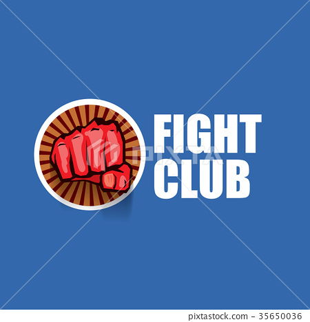fight club vector logo with red man fist isolated 35650036