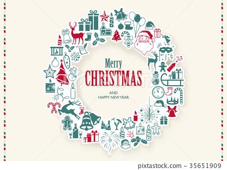 Vintage Christmas Wreath Background 35651909