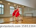 tango dancer woman excersizing in dance studio 35653364