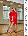 tango dancer woman excersizing in dance studio 35653368