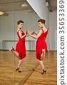 tango dancer woman excersizing in dance studio 35653369