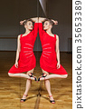 tango dancer woman excersizing in dance studio 35653389