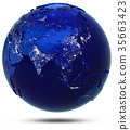 Asia continent and countries 3d rendering 35663423