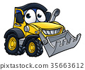 Cartoon Character Digger Bulldozer 35663612