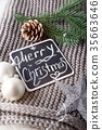 Merry christmas holiday decorations. 35663646