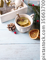 Hot green tea with lemon on a wooden table 35663700