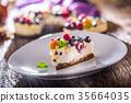Cheescake with fresh fruit berries strawberries. 35664035